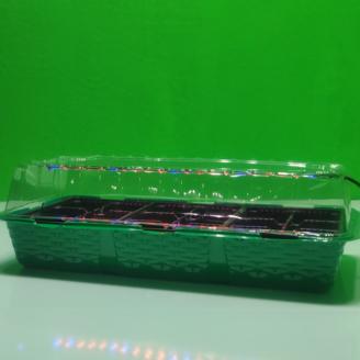 Парник на 18 ячеек с эффективной фито лампой из биколорных светодиодов для досвечивания рассады дома